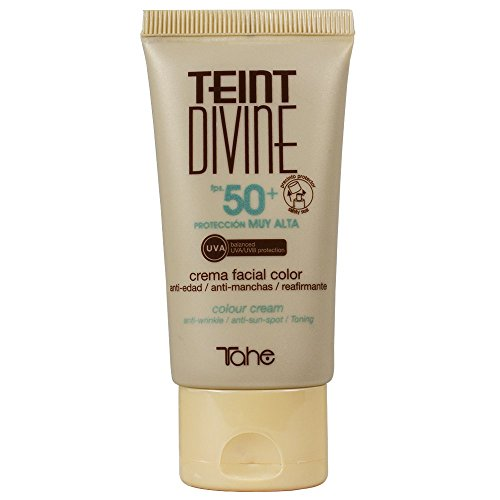 Tahe Teint Divine Crema Facial con Color y Protección Solar Muy Alta F.P.S 50+, para Todo Tipo de Pieles, Nº1, 50 ml