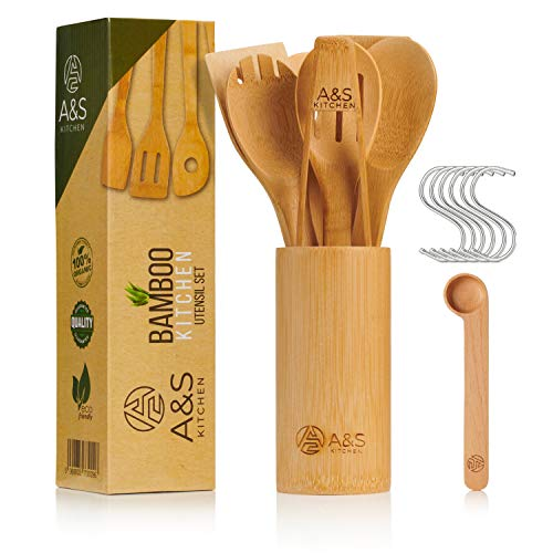 A&S KITCHEN Utensil Set | 10 Piece Bamboo Utensil Set, Spatula, Slotted Spoon, Wooden Spoons with Holder. Non Stick Cooking Utensil Set - Kitchen Utensils for Chefs | Easy to Clean | Great Gift