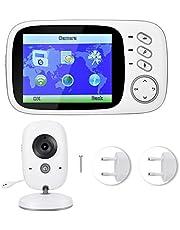 """BTIHCEUOT Monitoring do pielęgnacji niemowląt, HD 3,2"""", bezprzewodowa kamera na podczerwień, widoczność w nocy, Intercom 2-drożna kamera do monitoringu temperatury audio (wtyczka UE)"""