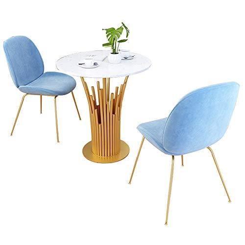 JU FU Tisch- und Stuhlkombination, Marmortisch Balkon Hof Freizeit runder Tisch Geschäftsverhandlungen Tisch und Stuhl Kombination, 2 Farben erhältlich (Color : A, Size : 1 Table and 2 Chairs)