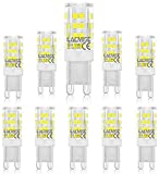 Lámparas LED G9 de 5W 400LM Reemplazo ecológico de lámpara blanca cálida para lámparas halógenas de 40W Blanco frío 6000K- Paquete de 10
