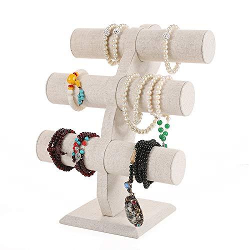 ZQJKL Soporte De Collar De Pulsera De Terciopelo Exhibición De Joyería De 3 Niveles con Barra en t para Pendientes, Collares y Relojes Organizador De Soporte De Exhibición De Joyería,Beige