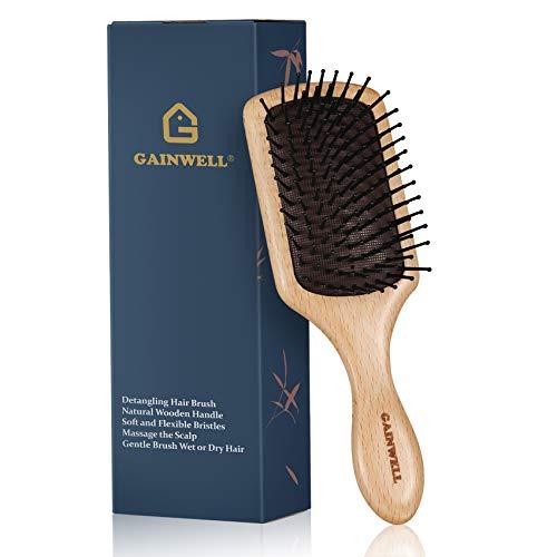 GAINWELL Cepillo para Desenredar el Cabello con Cerdas de Nylon para Mujeres, Cepillo con Pala de Madera para Cabellos Mojados o Secos
