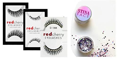 Eyelashes Red Cherry by Troika Eyelashes, 100% Human Hair, False Eye Lashes, Cruelty-Free, Latex-Free, Handmade (w/Separate Glitter) Lightweight, Comfortable (#43 - Stevi)