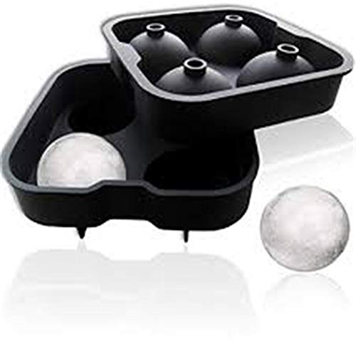 iGadgitz Home - Molde de silicona para hacer bolas de hielo (4 x 4,5 cm, 2 unidades), diseño de esfera de cóctel, whisky, licor y otras bebidas