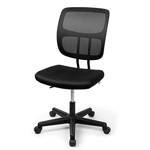 Besit Bürostuhl Ergonomisch Schreibtischstuhl Drehstuhl Computerstuhl Büro Stuhl Office Chair, Bürostuhl Ohne Armlehne, Stufenlos Höhenverstellbar, Bezugsstoff Schwarz