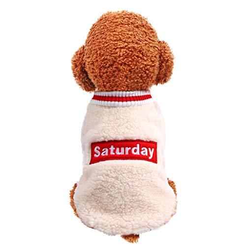 Longra Felpa in Pile Cane Gatto Vestiti di Inverno Maglione Caldo Maglieria per Cani E Gatto Cappotto Giacca in Velluto Autunno E Inverno Animale Domestico Vestito Saturday