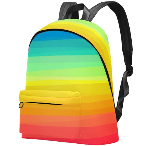 LAZEN Mochila ligera Mochila escolar universitaria Mochila para portátil para adultos y adolescentes Mochila informal Rayas arcoíris coloridas