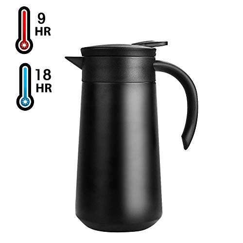 28oz Coffee Carafe Airpot Insulated Coffee Thermos Urn Stainless Steel Vacuum Thermal Pot Flask for Coffee, Hot Water, Tea, Hot Beverage - Keep 9 Hours Hot, 18 Hours Cold (Black)