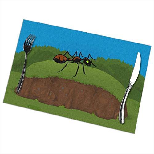 Nar Land Big Ant Climbing A Ramp 6 Piezas Juego de manteles Individuales Mantel Individual de Mesa Patio Vacaciones Decoraciones Decoración Ornamento Patrón de impresión temática