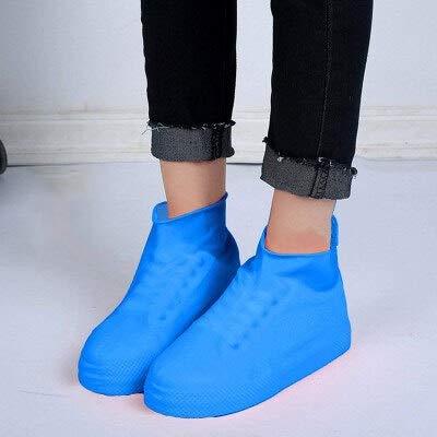 PYBH Wiederverwendbare Regen Schneestiefel Überschuhe wasserdichte Regen Socken Silikon-Gummi-Schuhe Überschuhe for Männer Frauen Kinder Protektoren Außen (Color : Short Blue, Size : Medium)