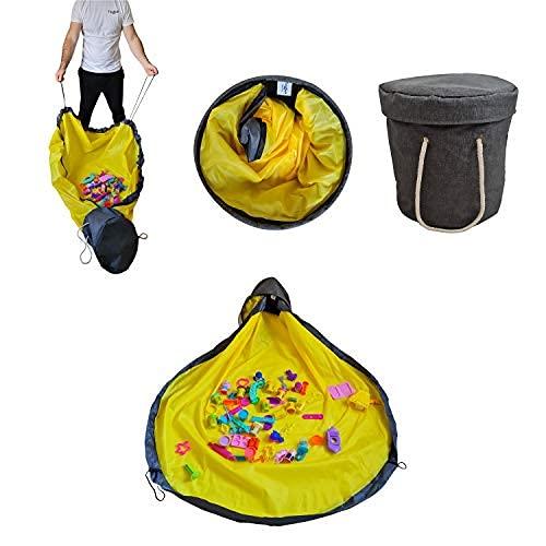 Bolsa de almacenamiento de juguetes con alfombrilla de juego, bolsa de almacenamiento con cesta plegable con asas y tapa - Quick…