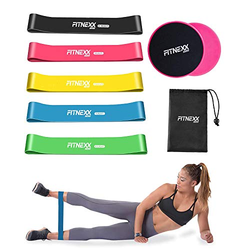 Exercise Resistance Bands Core Sliders – Workout Stretching Bands for Home Gym | Dual Sided Gliding Discs Slides on All Surfaces | Training Gear for Abdominal Strength, Abs, Hip, Pilates and Fat Burn