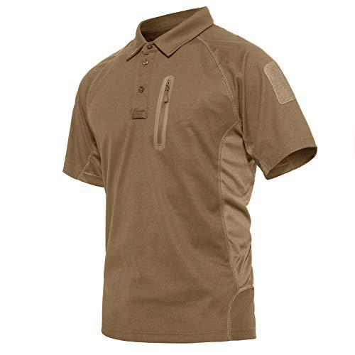 KEFITEVD Kurzarm Golfsweatshirt Herren mit Taschen Joggingshirt Leichtes Funktionsshirt Outdoor Kleidung Fahrradshirt Sommer Schnelltrocknend Braun L