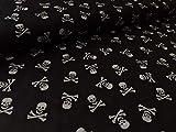 Baumwollstoff, Totenkopf/Piraten Druck auf Schwarz zum