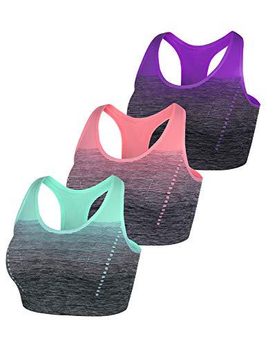 Sykooria Damen Sport BH GepolstertBustier Damen BH ohne Buegel Racerback Push up BH mit Farbverlauf Sport Top für Yoga Fitness, 3 PCS