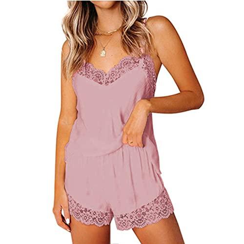 YANFANG Pijama De Mujer, Sexy, SatéN, Encaje, Costuras, Tirantes,Conjuntos Pijamas SatéN Sexy para Mujer Conjuntos Encaje con Ribete Cami Tops Pantalones Cortos Ropa Dormir,Rosa,M