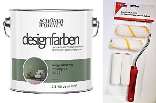 Schöner Wohnen designfarben feinmatte Wandfarbe für innen 2,5 Liter mit go/on Rollen-Set 5-tlg (Nr 28 Ausgeglichenes Piniengrün)