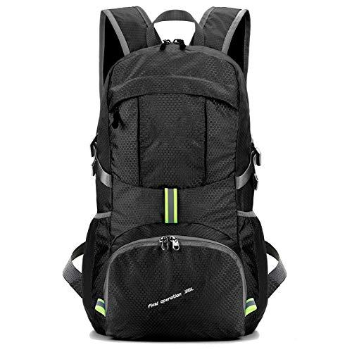 AmazonBrand- Eono Zaino Zainetto da Trekking Leggero e Compatto da Viaggio, Zaino da Campeggio Pieghevole da 35L, Zaino Ultraleggero per Sport all'Aperto (nero)