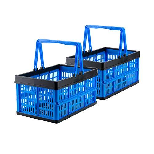 Grizzly 2 x Klappbox mit Griff - faltbar aus Kunststoff - Einkaufskiste klappbar und stapelbar 16L blau