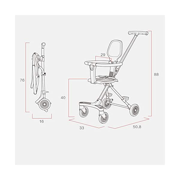 Makeups Foldable Portable Lightweight Baby Stroller Two Way Driving Baby Carriage Multipurpose Portable Baby Cart Adjustable Newborn Baby Crib Shock Absorption Can Sit Reclining Stroller Makeups Size: suitable from birth to 25 kg, length: 50.8 cm, width: 33 cm, height: 88 cm. Fold: 33cm * 16cm * 76cm. Ideal for plane, adapt to any car trunk. Designed with seat belt, non-slip grip, Top umbrella, seat cushion, bottom storage basket, all this will offer you great comfort. The stroller is equipped with adjustable belts to prevent the baby from falling. Have foot control brakes to stop at any time. 6