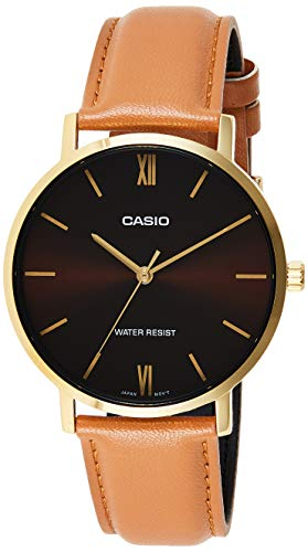 Casio MTP-VT01GL-5B Men's Minimalistic Gold Tone Brown Leather Band Burgundy Dial 3-Hand Analog Watch