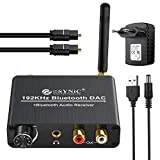 192 kHz DAC Konverter mit Bluetooth 5.0 Empfänger mit Einstellbarer Lautstärke und optischem Koaxial Kabel Toslink Audio Adapter Buchse 3,5 mm L/R RCA Digital zu Analog