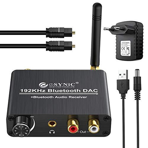 eSynic Convertisseur DAC 192 kHz avec Contrôle du Volume Récepteur Bluetooth 5.0 Adaptateur Audio Coaxial Numérique Toslink vers Stéréo Analogique L/R RCA Jack 3,5 mm