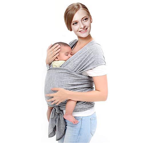 Fular Portabebés. Algodón ecológico Certificado. PERSONALIZADO. Bebés Recién Nacidos y Niños hasta 16 Kg – Manos libres. Colores gris oscuro o azul celeste. (Gris Oscuro)