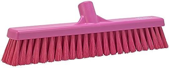 "Vikan 31791 Fine Sweep Floor Broom Head, Polypropylene Block, 16-1/2"" Polyester Bristle, Pink"
