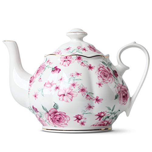 BTaT- Tea Pot, Teapot, Porcelain Teapot, 38 oz, Floral Teapot, Bone China Teapot for Tea Set, Ceramic Tea Kettle, Tea Pots for Tea Cup, Tea Pot Ceramic, Tea Pots for Loose Tea, Teapot for Infuser