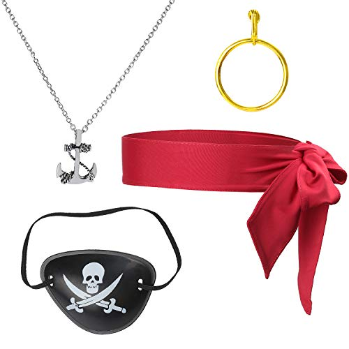 Beelittle 4 Piezas Juego de Accesorios para Disfraz de capitán Pirata Lazo Rojo Cabeza Pañuelo Envoltura Bandana Pirata Parche en el Ojo Collar con aretes Dorados Kit de Accesorios para Piratas (A)