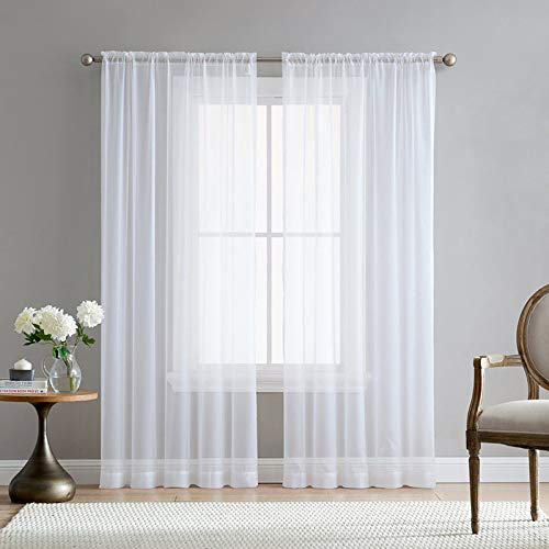 Qier Blackout Curtains For Bedroom,Living Room Treatments,Bedroom Kitchen Window Sheer Drapes,Modern Nordic Style Solid White Tulle Curtain,Grommet Top,374' W X 102' L 1Pc