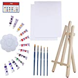 Art Canvas Paint Set Supplies – 22-Piece Canvas Acrylic Painting Kit with Wood Easel, 8x10 inch Canvases, 12 Non Toxic Washable Paints, 5 Brushes, Palette and Color Mixing Guide