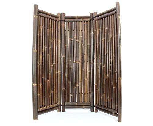 Paravent Bambus schwarz 3teilig mit 180 x 180cm, Wulung Rohre 4-7cm - Wunderschöner Raumteiler aus echten schwarz- braunen Wulung Bambusrohren - Raumtrenner Paravent mobiler Sichtschutz