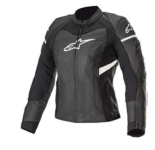 Alpinestars Stella Kira Damen Motorrad Lederjacke Schwarz/Weiß 46