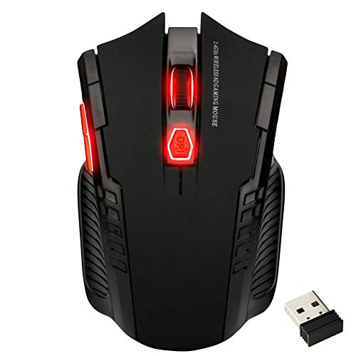 Necroware Wireless Gaming Mouse for Laptop/ Desktop/ MacBook and Chromebook. Silent, Ergonomic and Lightweight Cordless Mouse with USB Receiver, Side Buttons and Adjustable DPI for Gamers