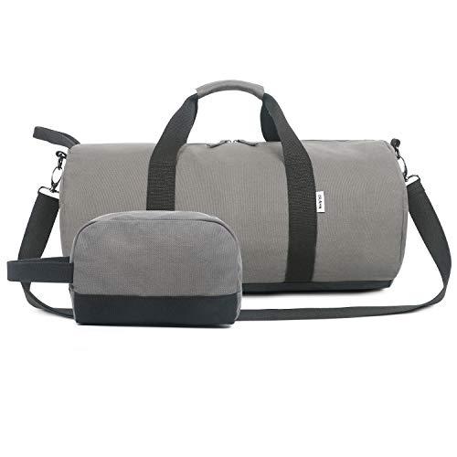 Oflamn Piccola Borsa da Viaggio in Tela per Donna e Uomo - Borsa da Palestra Sportiva - Travel Duffel Bag & Sports Gym Bag (1.0 Grigio)