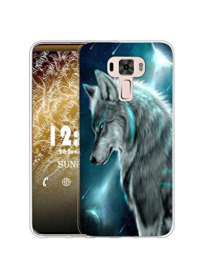 Sunrive Kompatibel mit Asus Zenfone 3 ZE520KL Hülle Silikon, Transparent Handyhülle Schutzhülle Etui Hülle (TPU Wolf)+Gratis Universal Eingabestift MEHRWEG