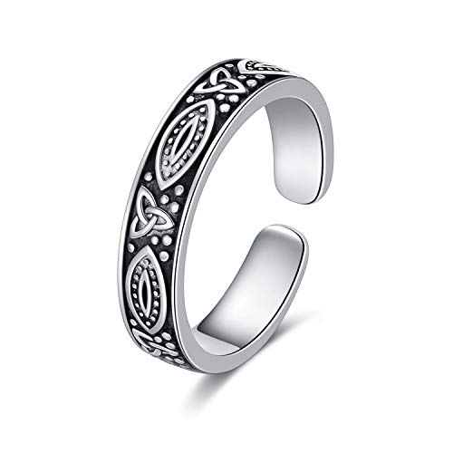 WINNICACA 925 Sterling Silver Toe Ring, Hypoallergenic Adjustable Band Ring Celtic Knot Open Ring with Retro Oxidation, Celtic Knot Toe Rings for Women