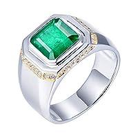 Lanmi メンズ 14K ホワイトゴールド 天然グリーンエメラルドダイヤモンド 婚約指輪 結婚指輪 男性用 グリーン