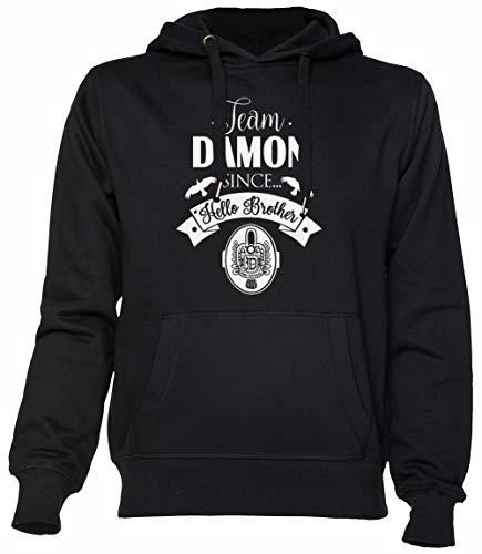 Team Damon Since Hello Brother Schwarz Kapuzenpullover Unisex Herren Damen Black Hoodie Unisex Men's Women's