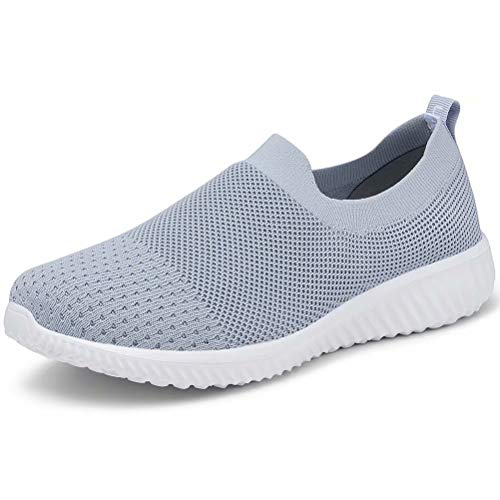 LANCROP Women's Walking Nurse Shoes - Mesh Slip on Comfortable Sneakers 5 US, Label 35 Grey