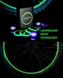 MoonOn Wheelaglows Bicycle Light System Kit - Transforms Rims/Wheels in Glow in The Dark - Glowing Tape Activated by Special UV (LED) Lights - Electro Green