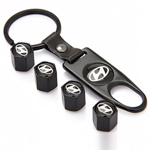 EZKey Pack de 4Universal rueda neumático válvula de aire Tallo Caps Cubiertas y 1pc llavero FIT para Hyundai