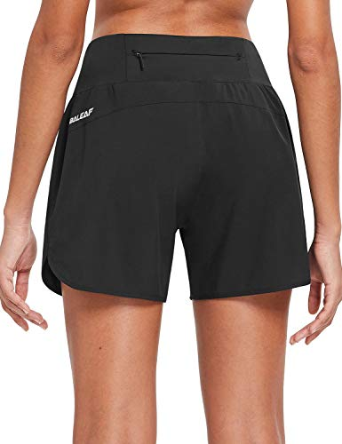 BALEAF Womens 5 Inches Knit Waistband Running Shorts with Liner Quick Dry Lounge Gym Walking Lined Shorts Back Zipper Pocket Black Size L