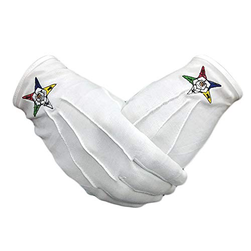 Order of the Eastern Star Hand Embroidered Cotton White Masonic Gloves