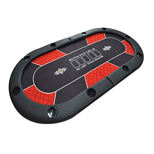 EXCLVEA Poker Faltbarer Tisch Texas Hold'em Poker-Tisch Faltbare Blackjack-Tisch Poker Game Table Top 2-in-1 Gaming Table Top for 10 Spieler mit Cupholder (Farbe : Rot, Größe : 2×1m)
