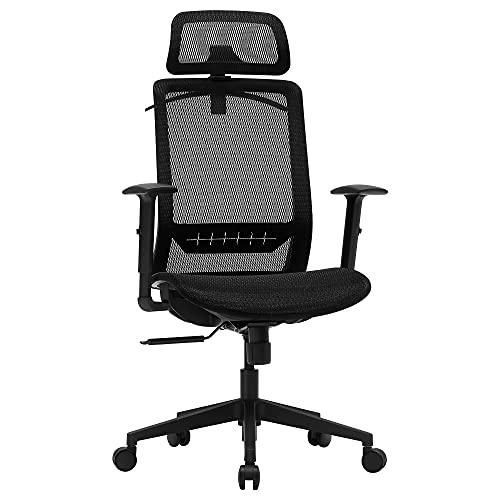 SONGMICS Bürostuhl, Schreibtischstuhl, ergonomischer Computerstuhl mit Kleiderbügel, Netzbespannung, Kopfstütze, für Homeoffice, Arbeiten und Spielen, schwarz OBN062B01