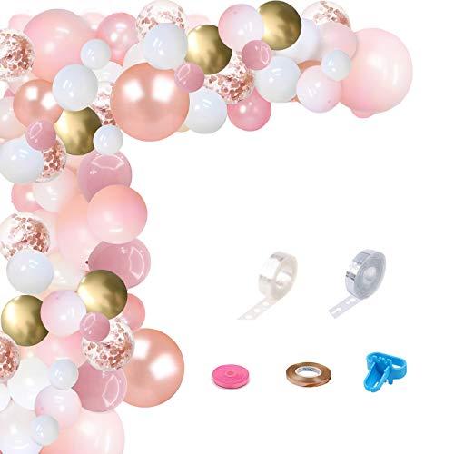 Guirnalda de globos rosados de oro rosa, 104 unidades, color rosa metálico, dorado y blanco, con accesorios de globo, para niña, baby shower, cumpleaños, decoración
